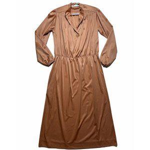 Vintage Womens Tan Dress Medium Elastic Waist
